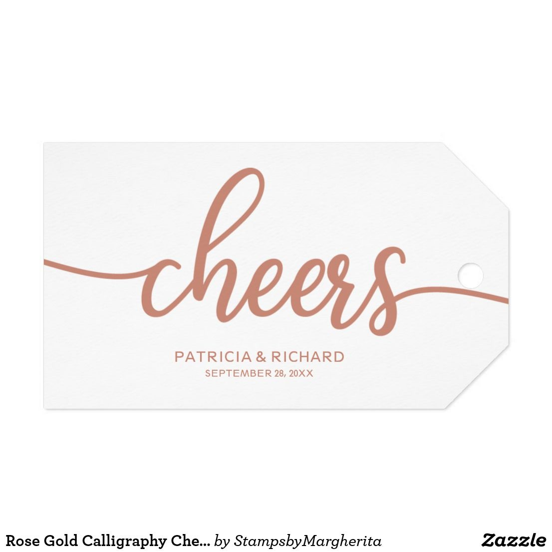 Rose Gold Calligraphy Cheers Wine Bottle Tags