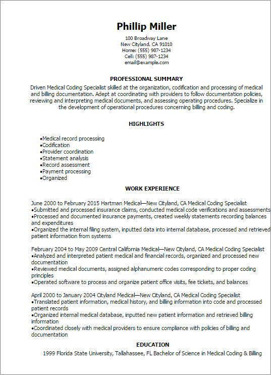 Medical Coding Resume Sample Professional Medical Coding - professional medical resume