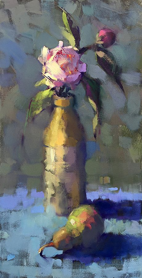Peony and Pear by Trisha Adams Oil ~ 24 x 12