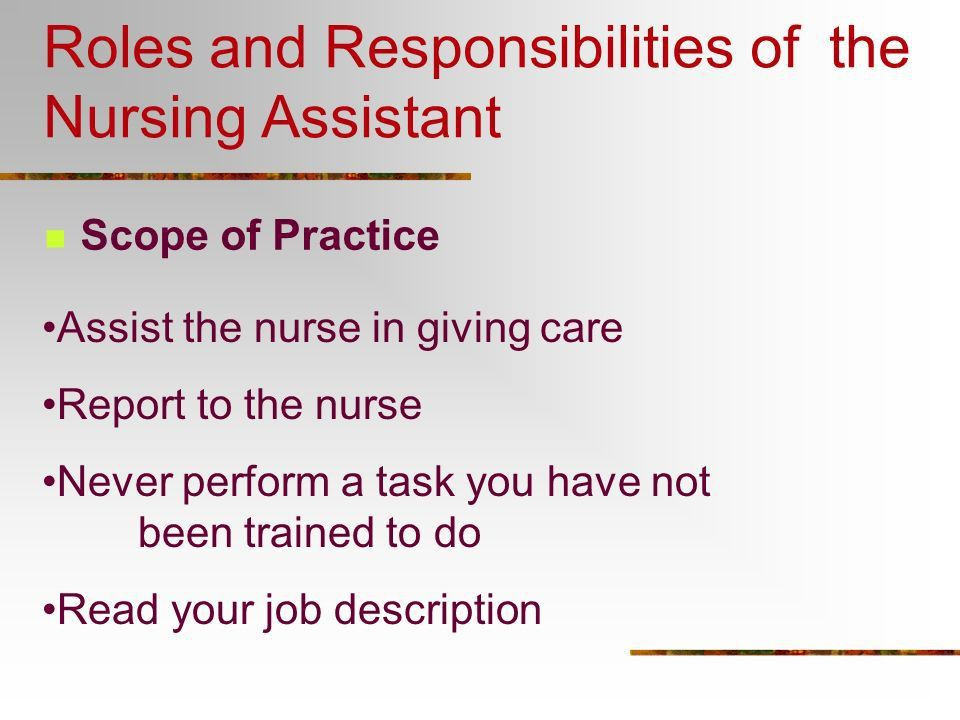 List Of Cna Duties The Patients Need Physical And Emotional - nursing assistant job description