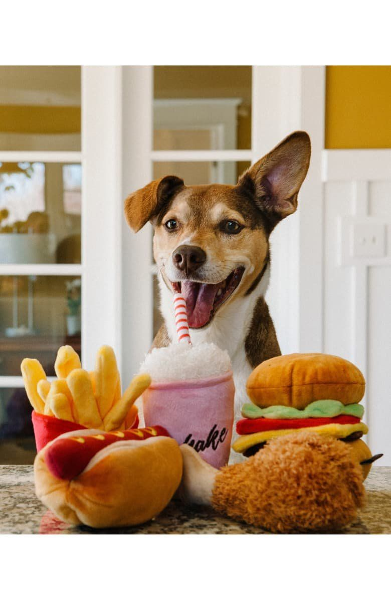Double-layered and double-stitched for durability, these toys shaped like your favorite take-out treats will provide your pup with hours of entertainment. They're filled with PlanetFill® made from 100% post-consumer certified-safe recycled plastic bottles as a feel-good eco-friendly feature.