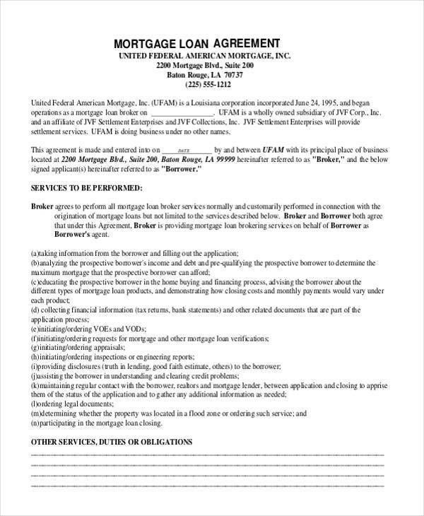 Loan Form Sample 5 Loan Agreement Templates To Write Perfect - subordination agreement template