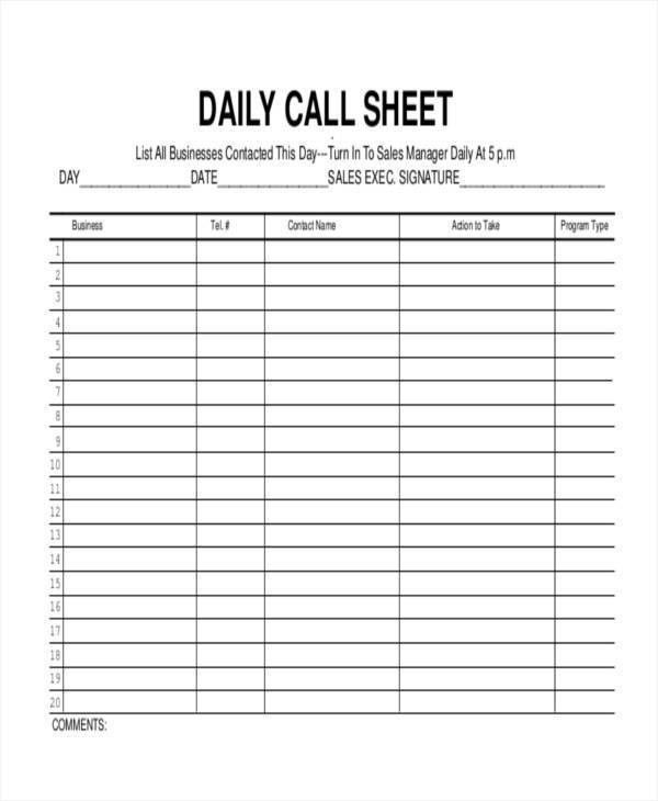 daily sales call log template