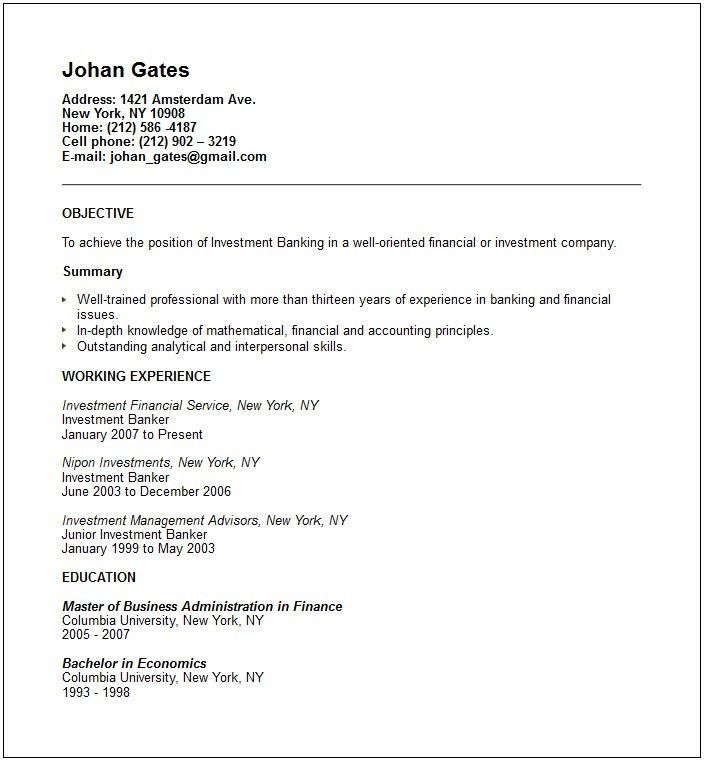 Objective For Banking Resume 63 Best Career Resume Banking Images - investment banking resume template