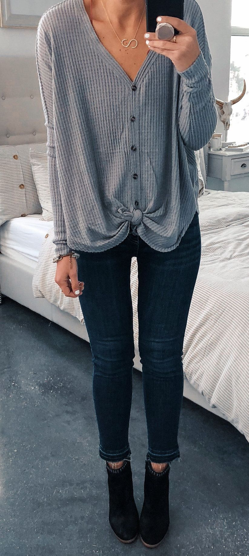 gray button-up sweater #spring #outfits