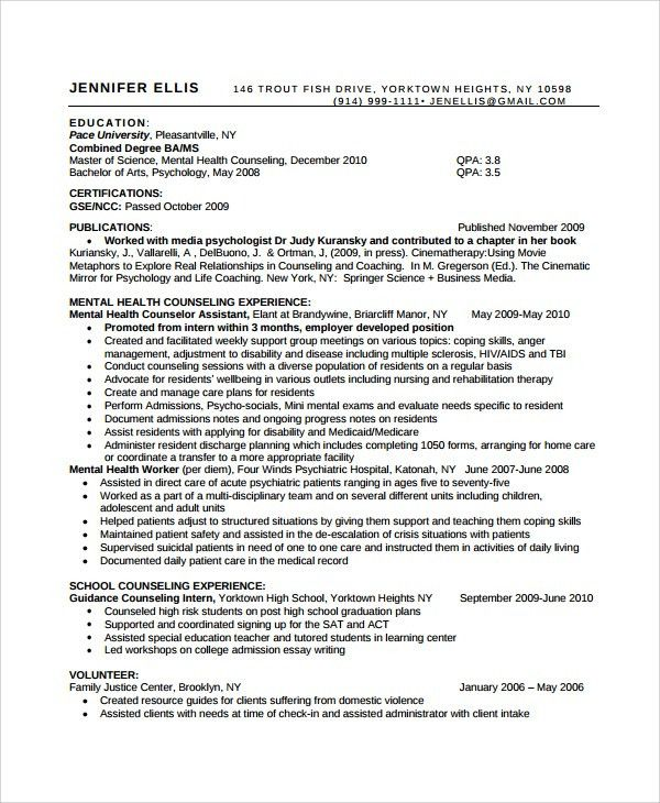 sample health counselor resume crisis intervention counselor