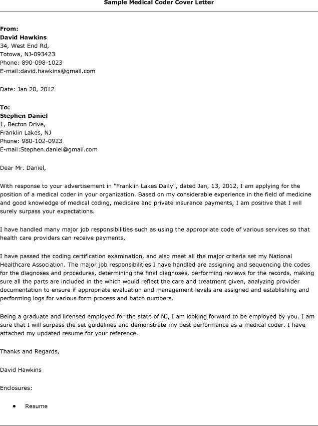 Cover Letter For Medical Billing  Medical Coding Resume