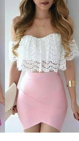 Nice white lace crop top and mini light pink skirt