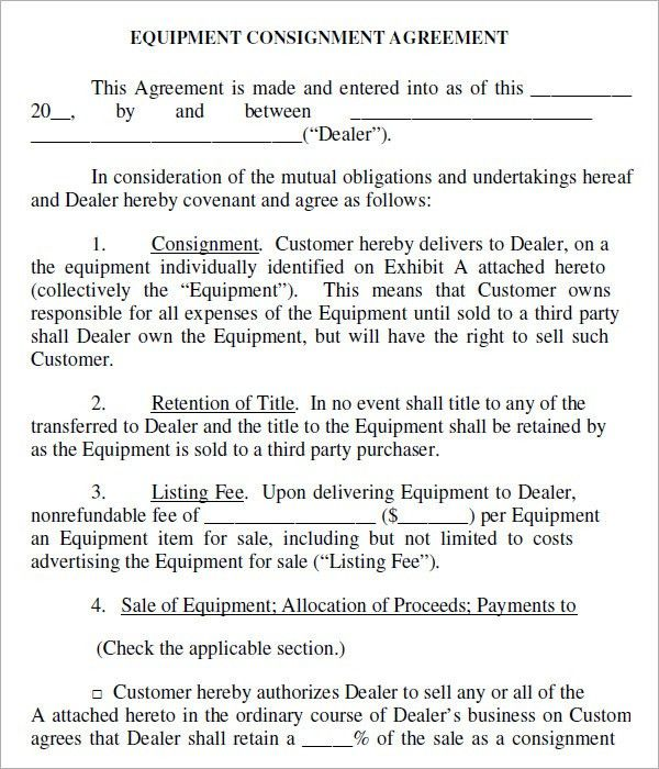 Consignment Inventory Agreement Template Consignment Agreement - consignment agreement template
