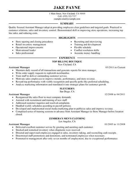 Assistant Manager Resume Format Assistant Manager Resume Retail - assistant manager job description resume