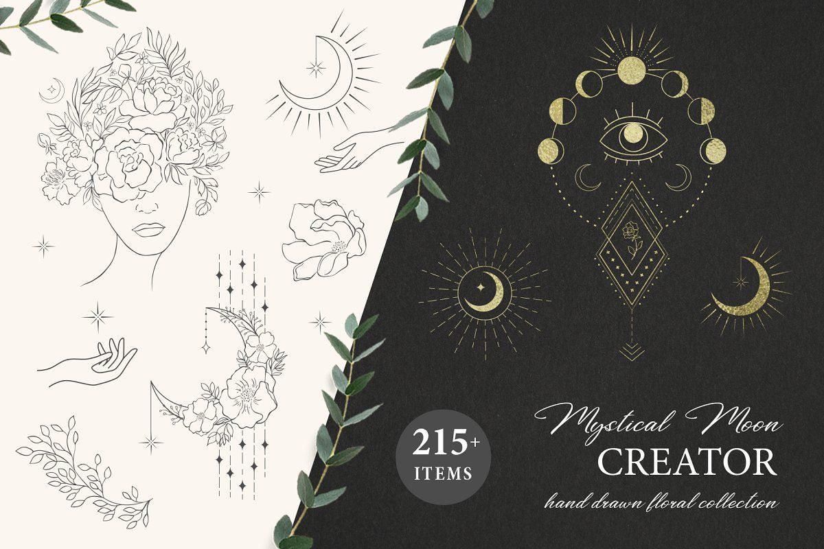 Here is a new trendy big collection in line art with over, than 215 unique Hand Drawn Floral Design Elements and ready designs with they and Moon & Crystals. All items are great for logo, branding, tattoo, decor, decoration, invitation, wedding design, packaging, t-shirt prints, stickers, greeting cards and more.