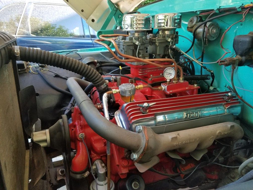 1959 Ford 292 Y Block 2x2 Rochester S And Fenton Valve Covers In