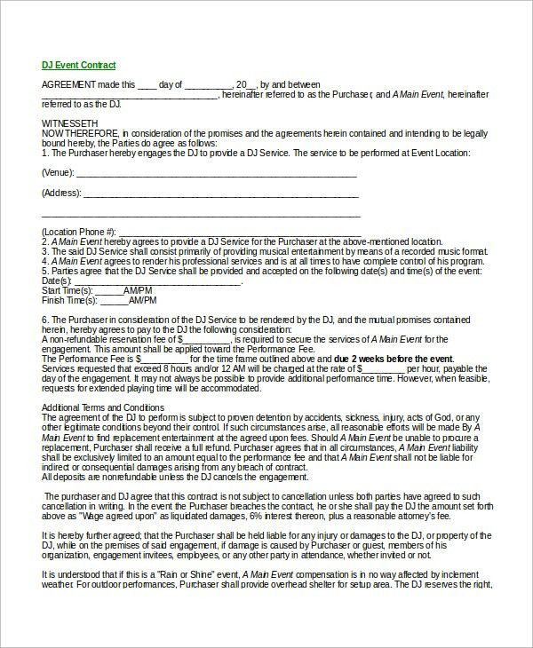Event Contract Sample Event Contract Template 18 Free Word Excel - dj contract template