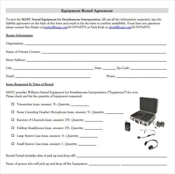 Rental Agreement Form Template Printable Sample Rental Lease - sample equipment rental agreement
