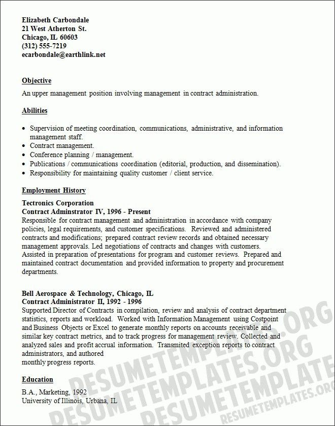 contract administrator sample resume | cvresume.unicloud.pl