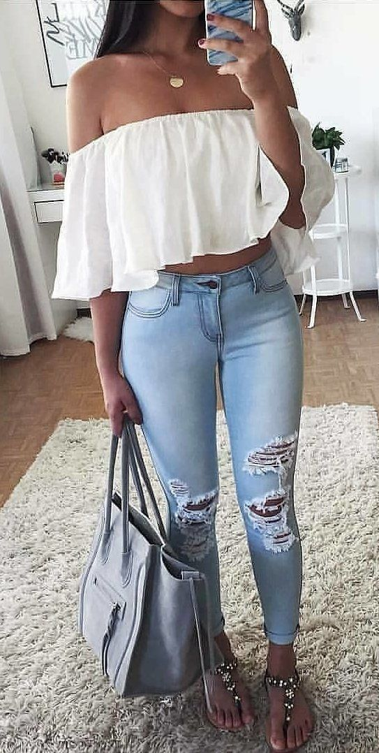 white off shoulder top #spring #outfits