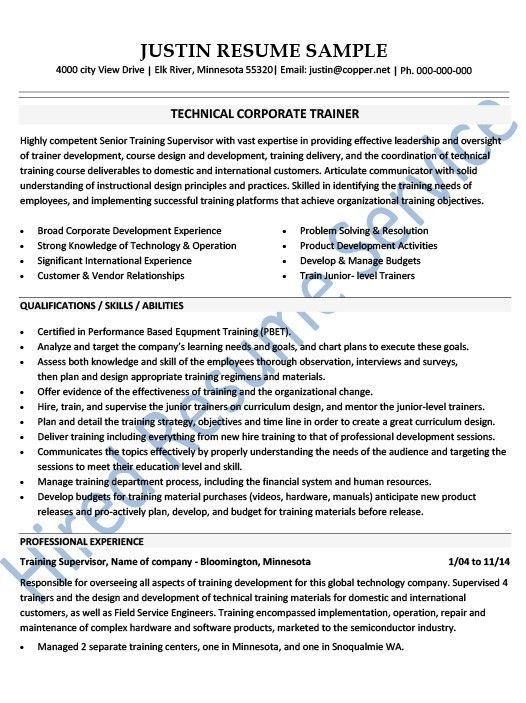 Corporate Trainer Resume Examples - Examples of Resumes - International Experience Resume