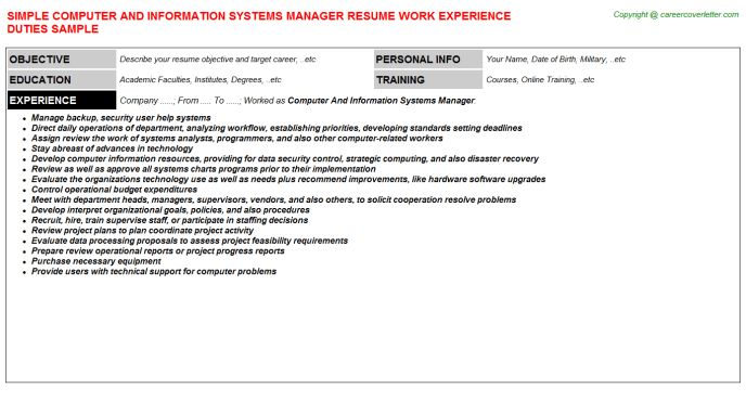 Computer information systems manager resume computer information