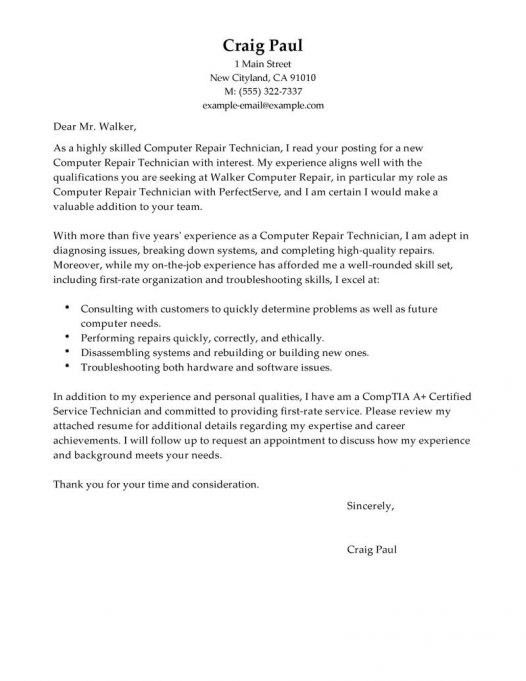 Computer Technician Cover Letter | Cover Letter