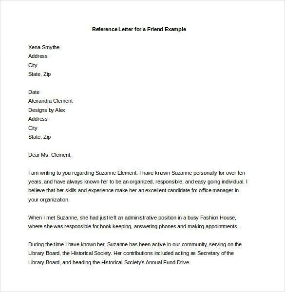 Letter Example For Friend Friendly Letter Templates 42 Free - tenant reference letter