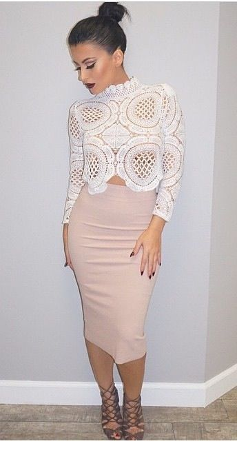 Cute white lace blouse with beige skirt