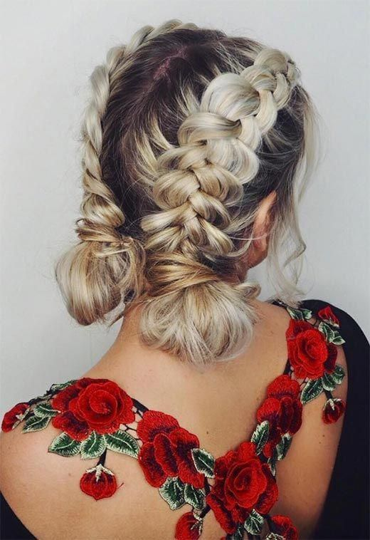 Long Hair Braids: Braided Hairstyles for Long Hair: Double Dutch Braid Buns #braids #braided #hair #hairstyles #longhair #longhairstylesupdo