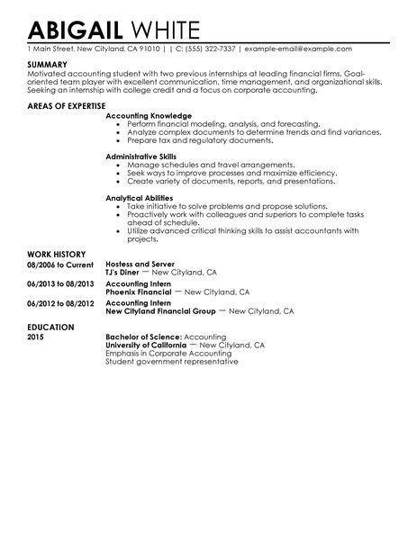 Accounting Internship Resume Samples Internship On Resume Sample - accounting intern resume
