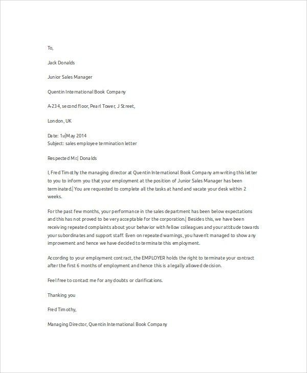 Termination Of Employment Letter Example Free Termination Letter - employee termination letter