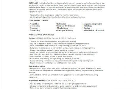 Sample Welder Resume Unforgettable Welder Resume Examples To - resume for welder