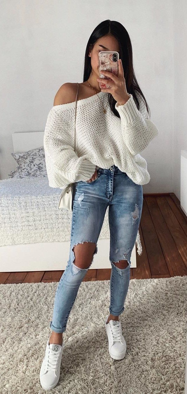 white sweater #spring #outfits