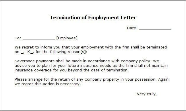 Sample Employee Termination Letter For Cause Nanny Termination - employee termination letter