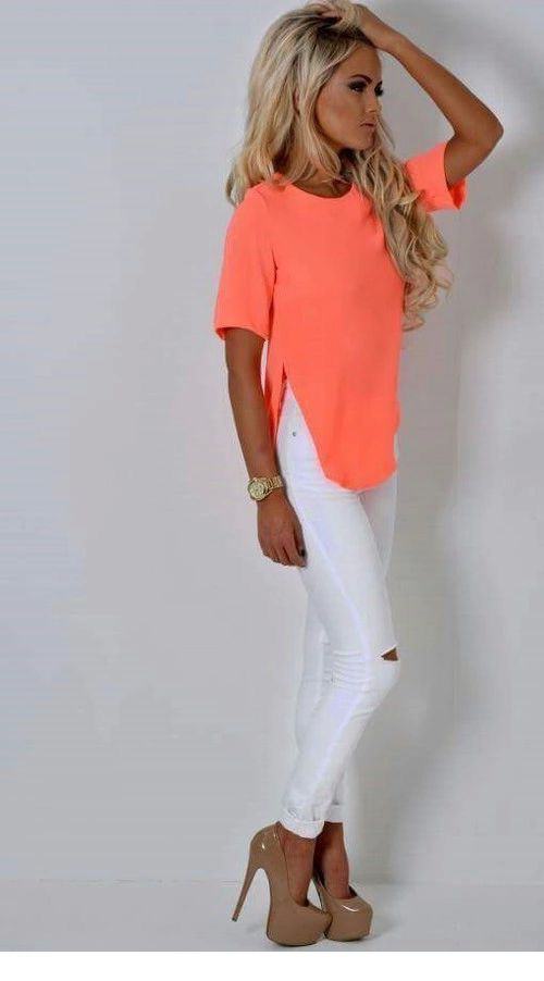 Nice coral neon top and white pants