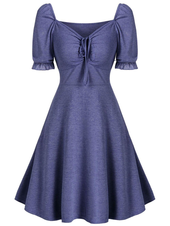 [29% OFF] 2020 Cinched Mini Flare Mermaid Dress In BLUE KOI | DressLily