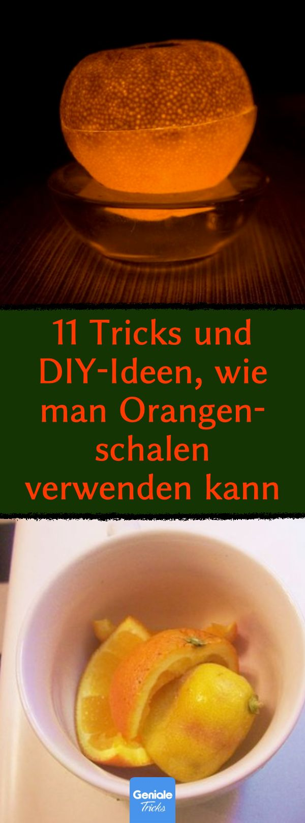 11 Gründe, Orangenschalen nicht wegzuwerfen. Mein Mann kann von Nr. 4 nie genug bekommen! 11 Tricks und DIY-Ideen, wie man Orangenschalen verwenden kann. #Orangenschalen #DIY #Ideen #Basteltipps #Kerze #Weichspüler #Hausmittel #Salat #Kopfschmerzen #Völlegefühl #Verdauung #Weihnachtsdeko #selbst #gemacht