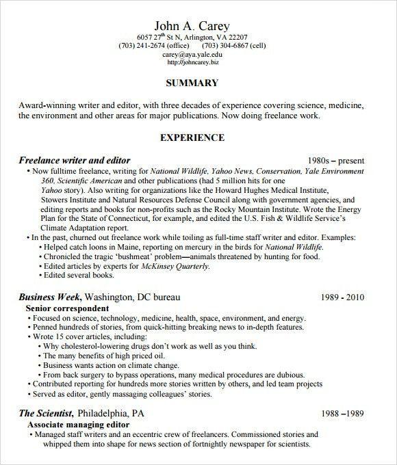 freelance writer resume sample node2004-resume-template