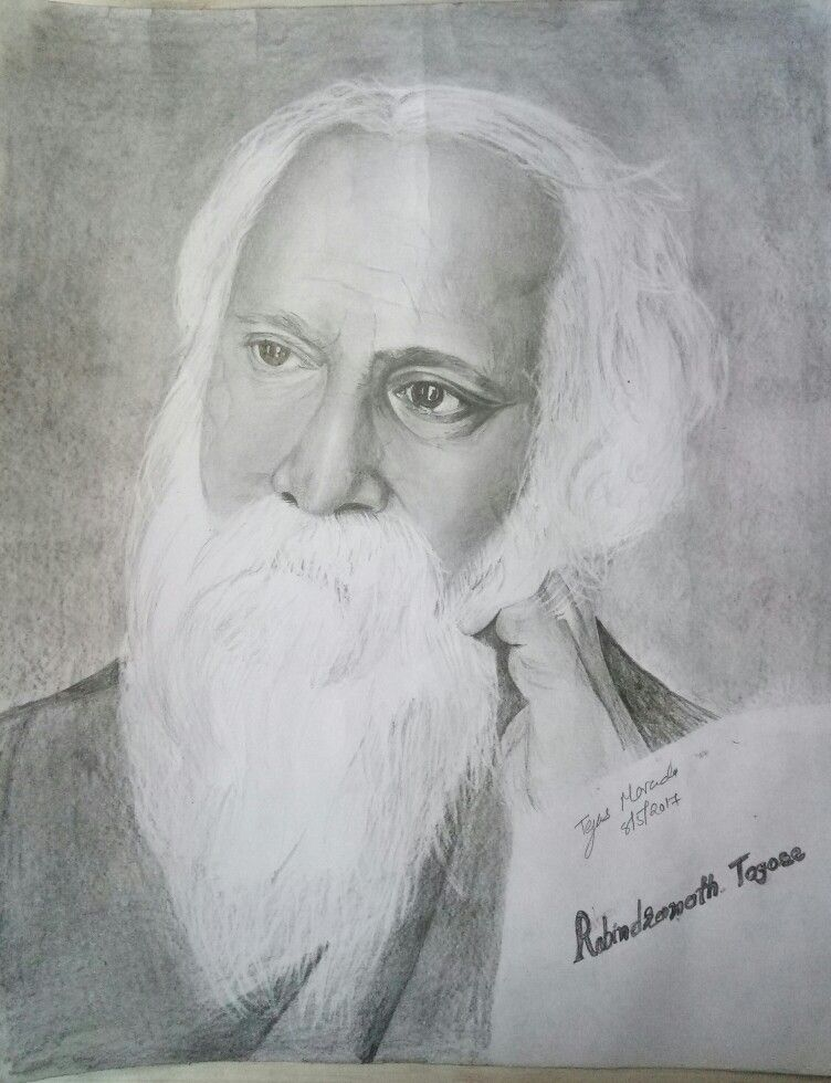 Rabindranath Tagore# pencil drawing