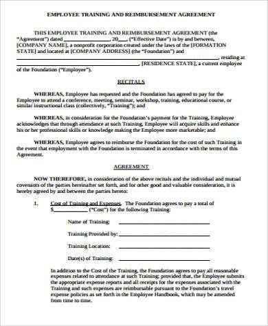 Employee Training Contract Sample Training Contract Template - training agreement contract