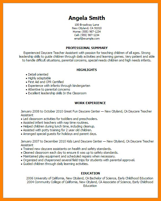 Daycare Resume Objective Sample For Child