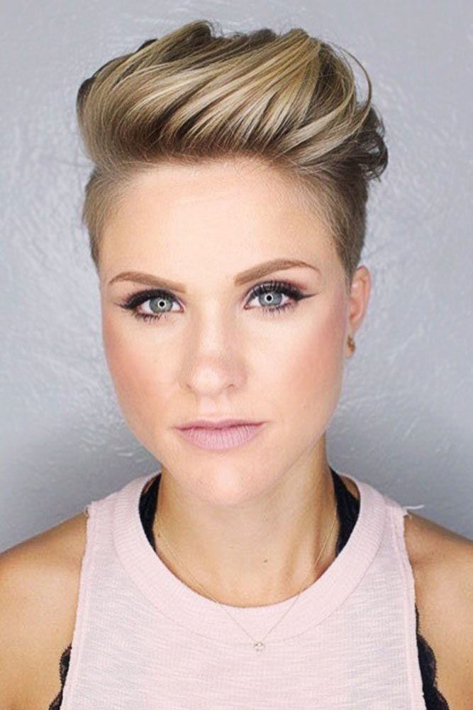 Pumped Up Pompadour Tapered Pixie #fadehaircut #pixie ★  A taper fade haircut for women works for straight as well as curly hair. You canalso go for a short, mid or long option. #glaminati #lifestyle #taperfade