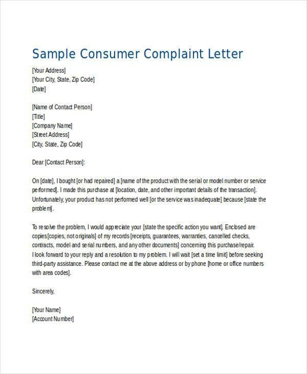 Complaint Letter Examples collection of solutions example of - sample consumer complaint form