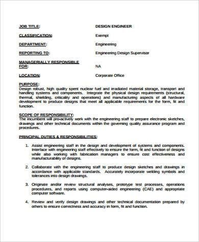 Design Engineer Job Description quality engineer job description - manufacturing engineer job description