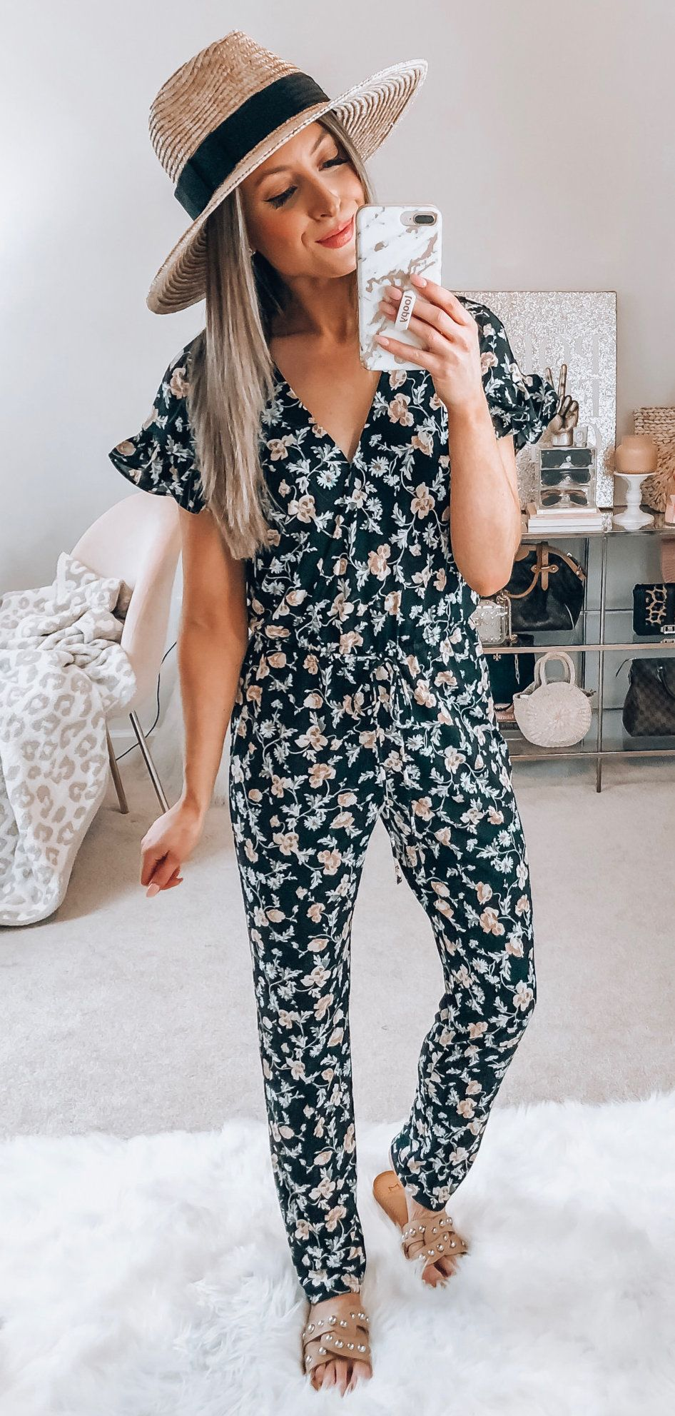 black and multicolored floral jumpsuit #spring #outfits