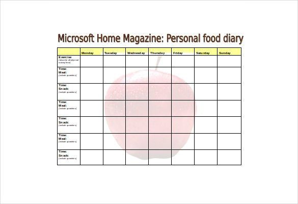 Food Diary Template Free Food Log Template 29 Free Word Excel Pdf - free log templates