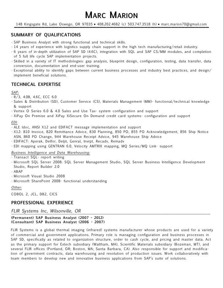 Sap Analyst Resume Sap Resume Template Sap Fico Resume Sample - sap business analyst resume