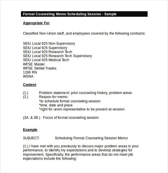 Counseling Memo Template  Resume Ideas  NamanasaCom
