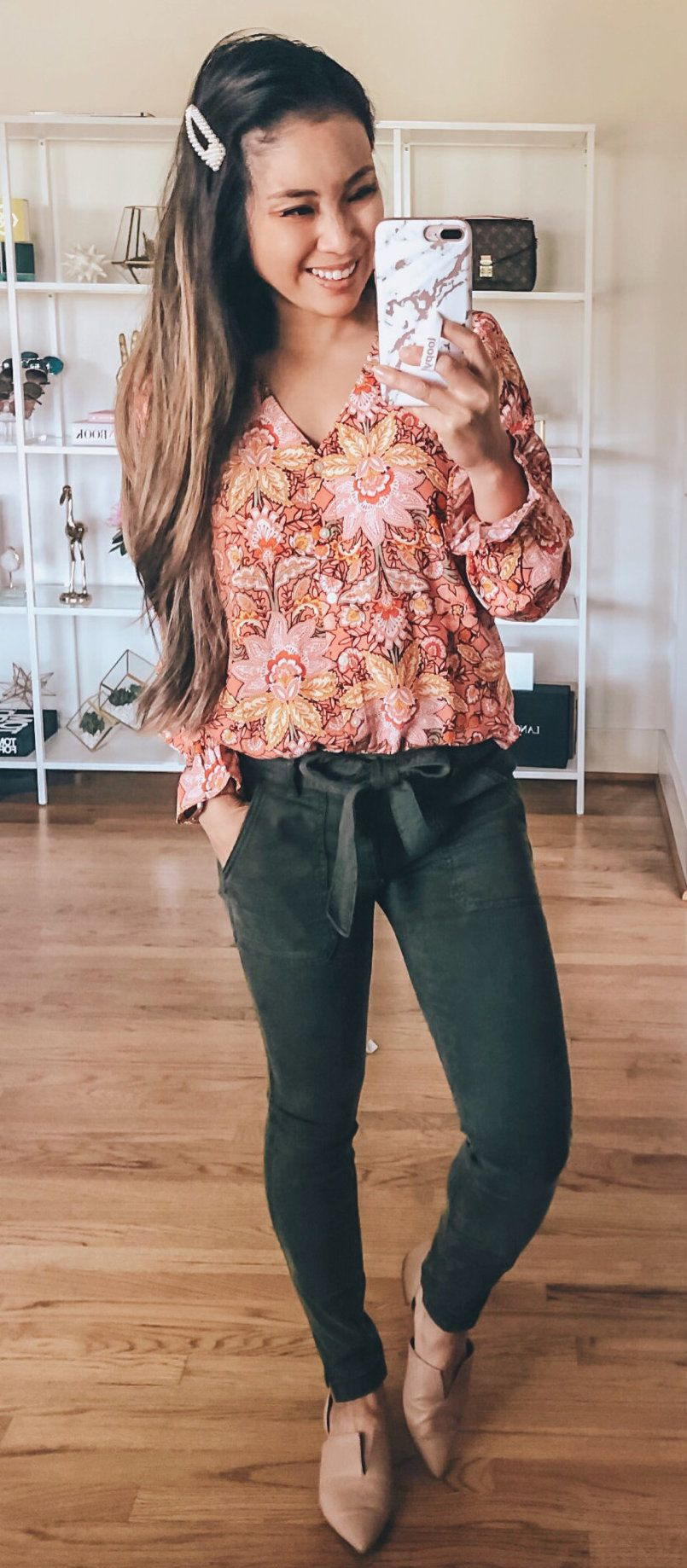 brown floral blouse #summer #outfits