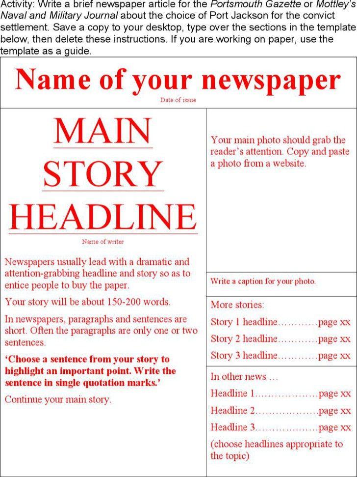 Free Newspaper Template Editable Newspaper Template Portrait - newspaper headline template