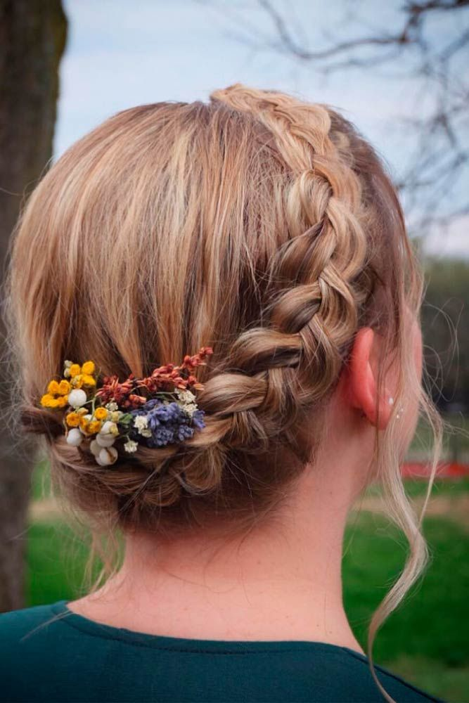 Dutch Braid Updo #braidedhair #updohair ★ Short hairstyles for women have caused a lot of stir in 2019. Want to know what they are? You can find all of them in our exclusive photo gallery, which includes a layered bob, a messy pixie cut, cute Dutch braids and many more.  #glaminati #lifestyle #shorthairstyles
