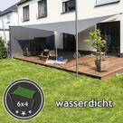 Sonnensegel Anlage höhenverstellbar 6x4m wasserdicht   Komplett   Terrasse 2 Mast/2 Wand