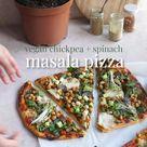 Chickpea + Spinach Masala Pizza - Indian Vegan Pizza Recipe